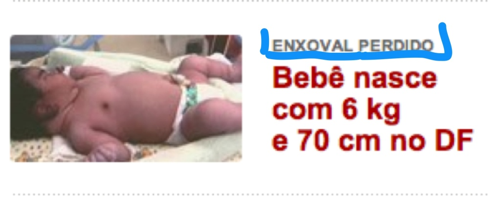 Saiu no Uol - Enxoval perdido- Bebê nasce com 6 kg